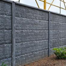 Betonzaun steinmotiv grau 200x193cm einseitig