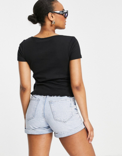 Brave Soul zelly button down t-shirt with scoop neck-Black