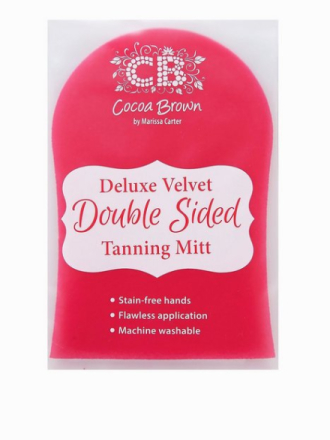 Cocoa Brown Deluxe Double-Sided Pink Velvet Tanning Mitt