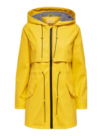 ONLY Solid Colored Rain Jacket Women Yellow
