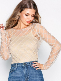 NLY Trend Sheer Beaded Mesh Top Langærmede toppe