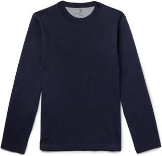Brunello Cucinelli - Cotton-jersey T-shirt - Blue - XS,Brunello Cucinelli - Cotton-jersey T-shirt - Blue - XXL,Brunello Cucinelli - Cotton-jersey T-shirt - Blue - S,Brunello Cucinelli - Cotton-jersey T-shirt - Blue - M,Brunello Cucinelli - Cotton-jersey T