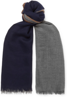 Colour-block Cashmere And Silk-blend Scarf - Blue
