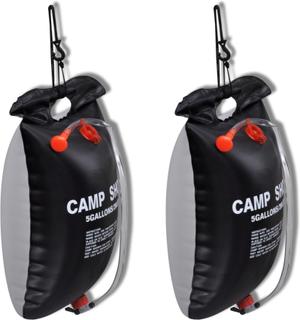 vidaXL soldrevet campingbruser udendørs bad 20 l 2 stk.