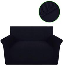 vidaXL Sofföverdrag med stretch svart bomullsjersey