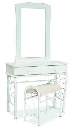 Ironton - Sminkbord med pall (vit)