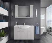 Möbelpaket Monaco 110 beige/vit med spegelskåp (2 skåp)