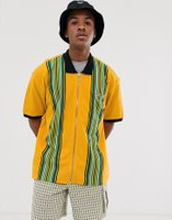 Obey Kelly Classic full zip polo in yellow - Energy yellow multi