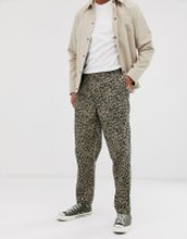 Obey Easy pants in leopard print - Khaki leopard