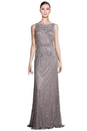 Theia Metallic ärmlös paljett pärlstav Klänning klänning Silver 12
