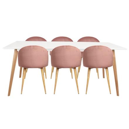 Spisebordssæt - Nordic spisebord + 6 Rosa Nellie stole