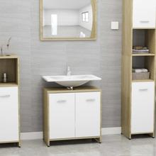 Badeværelsesskab 60x33x58 cm spånplade hvid sonoma-eg