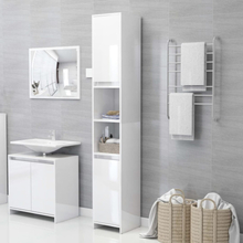 Badeværelsesskab 30x30x183,5 cm spånplade hvid højglans