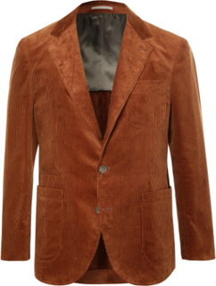 Brick Slim-fit Unstructured Sea Island Cotton-corduroy Suit Jacket - Brown