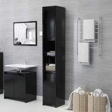 Badeværelsesskab 30x30x183,5 cm spånplade sort