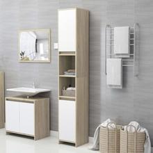 Badeværelsesskab 30x30x183,5 cm spånplade hvid og sonoma-eg