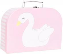 Pappväskor med bilder på en svan och en flamingo