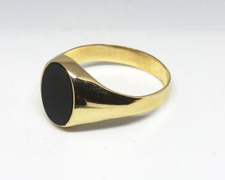 Herre ring gult gull med onyx