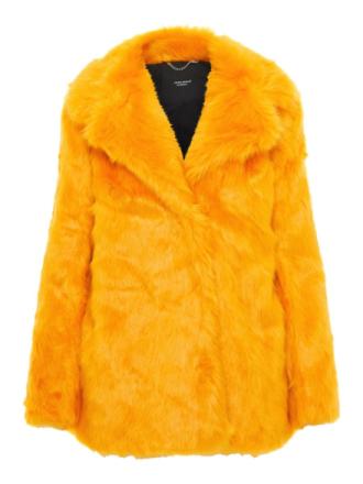 VERO MODA Faux Fur Coat Women Yellow