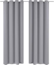 vidaXL Mörkläggningsgardiner med metallringar 2 st 135 x 245 cm grå