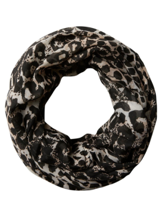 PIECES Leopard Printed Tube Scarf Women Black