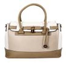 L. CREDI Damen Handtasche Bowling Bag Nathalie Braun/ Beige/ Weiß