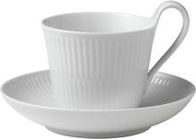 White Fluted Kaffegods 25 cl hög hänkel
