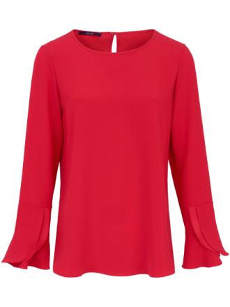 Afslappet bluse moderne flæsekant på ærmerne Fra Laurèl rød - Peter Hahn
