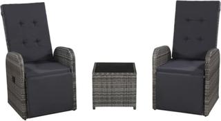 vidaXL Caféset med dynor 3 delar konstrotting grå
