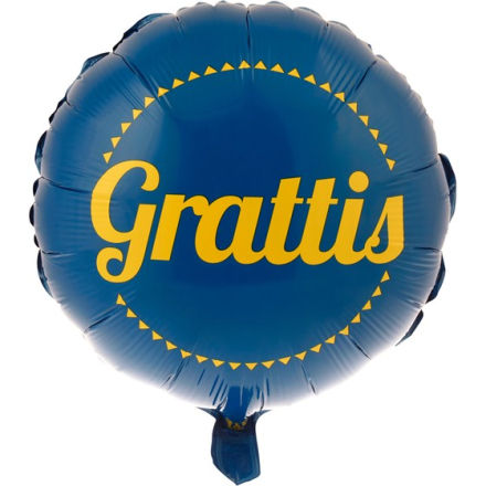 Folieballong Gul/blå 45cm