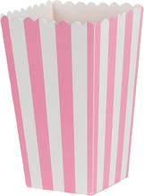 Popcornbox rosa ränder 6-pack