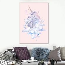 Aquarell Flamingo Einhorn Leinwand Wandkunst Poster Kinder Zimmer Dekoration