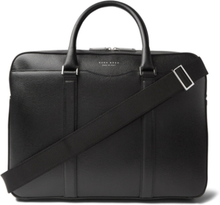 Signature Cross-grain Leather Briefcase - Black