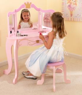 Prinsesse sminkebord og skammel - Kidkraft Børnemøbler 76123
