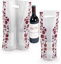 Plastik-Tragetaschen Weinmotiv mit verstärktem Griffloch - RESTPOSTEN