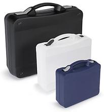 Großvolumiger Kunststoffkoffer transparent Verschluss schwarz 250 x 211 x 80 mm