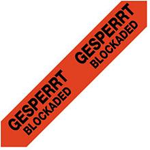 PVC Warnband mit Standardaufdruck ''Gesperrt / Blockaded''