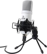 Devine Gaming och Podcast USB mikrofon, vit