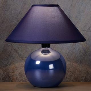 Glänsande keramikfot - blå bordslampa Faro
