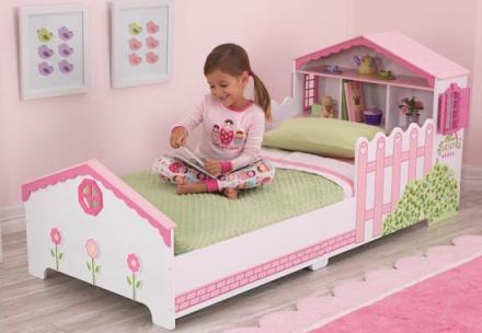 Prinsesseseng med dukkehus 70×140