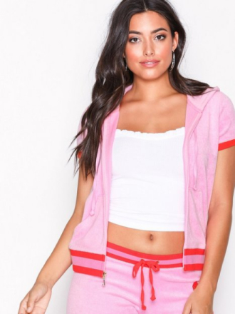 Juicy Couture Encrusted Jc Microterry Ss Robertson Cardigans Bright Pink