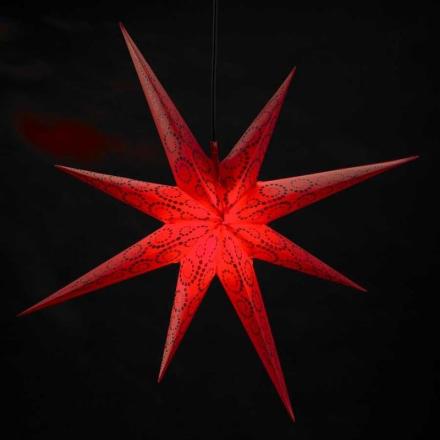 Ganesha 8-takket stjerne med glitterdesign - rød