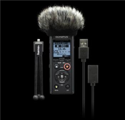 Olympus LS-P4 Black PCM Recorder, Podcaster Kit, incl. mini Tripod, Windscreen and USB cable