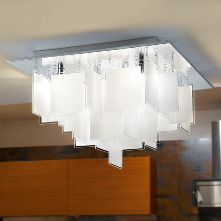 Extraordinär plafondlampa Condrada1 med glashängen