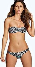 Brazil Metal Trim Leopard Bandeau Bikini