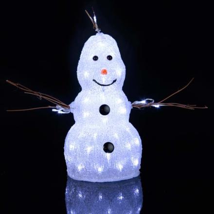 Lille LED-figur Crystal Snowman t. udendørs