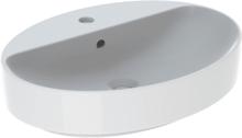 Geberit VariForm bordstående servantm/ tapphull & overløp, oval, 60x45 cm