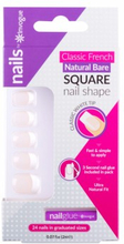 Invogue Classic French Square Nails Natural Bare 24 stk