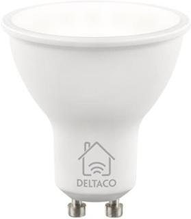 Deltaco Smart Home Led-lampa, GU10, WiFI, 5W, 2700K-6500K, dimbar, vit