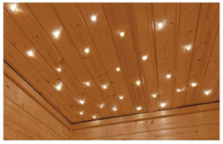 Stjärnljus- Fiberoptik för bastu